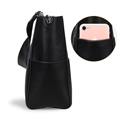 S-ZONE monedero de la bolsa de hombro de la vendimia de la manera de las mujeres (blanco-gris) negro