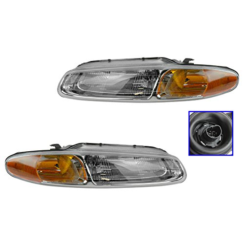 Headlights Headlamps Left & Right Pair Set for 96-00 Sebring Convertible