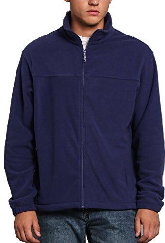 Inner Fleece Pockets (Men Spring Fall Sport Full Zip Fleece Jackets Navy Blue M)