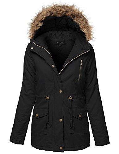 Warm Fur Trim Removable Hoodie Utility Jackets, Medium, 128-Black