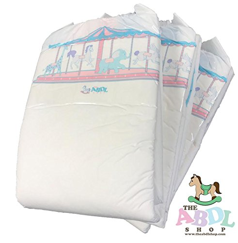 Carousel Printed Adult Diapers ABDL 10 Pack (Large) for $<!--$35.99-->