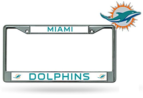 Rico Official National Football League Fan Shop Licensed NFL Shop Authentic Chrome License Plate Frame and Colored Auto Emblem (Miami Dolphins)