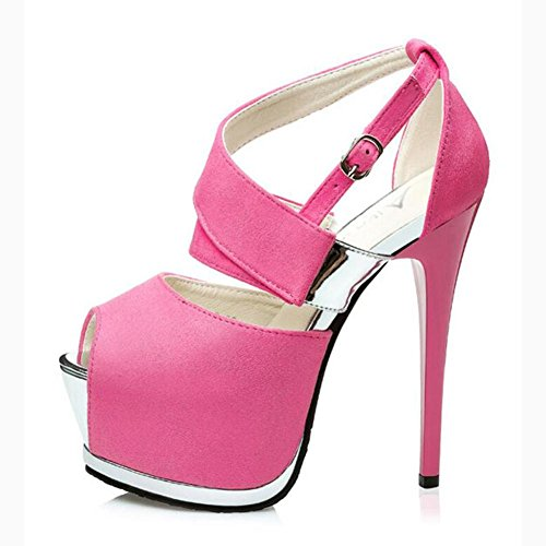 Hollow With Fine Mouth Sandals Pink Waterproof Heels Fish Suede High Table Women'S Dance qwTEt0w