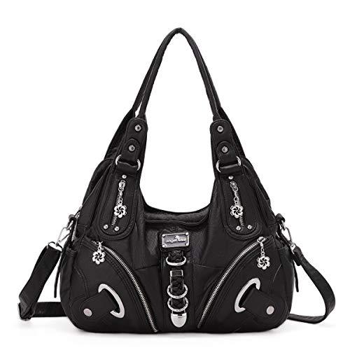 Handbag Hobo Women Bag Roomy Multiple Pockets Street ladies' Shoulder Bag Fashion PU Tote Satchel Bag for Women (11282 black)