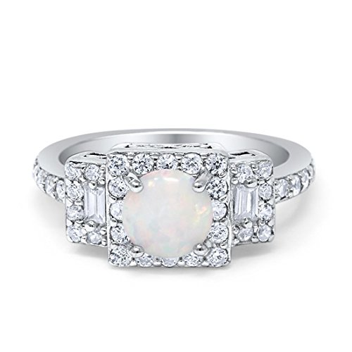 - Halo Wedding Engagement Ring Round Created White Opal Baguette Round Cubic Zirconia 925 Sterling Silver,Size-8