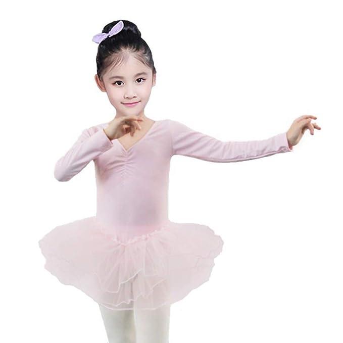 ZNYUNE Bambine Ragazze Vestito Tutu da Balletto per Ballo Strass a Manica Corta di Usura di Ballo Abiti 3-8 Anni
