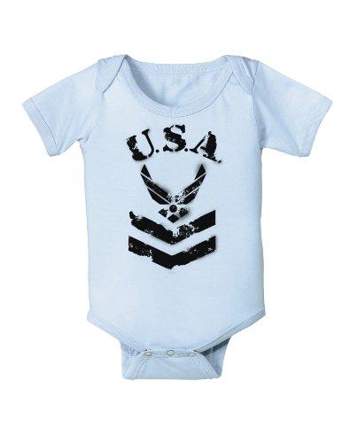 USA Military Air Force Stencil Logo Infant One Piece Bodysuit - Light Blue - 6 Months