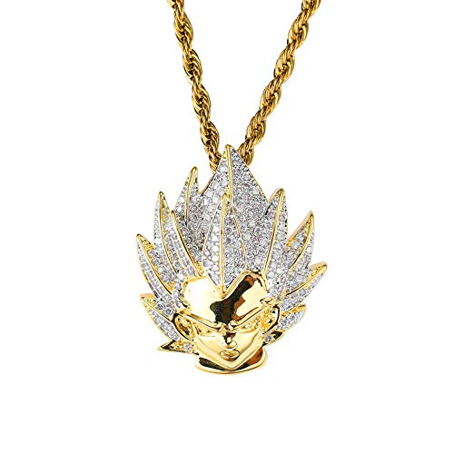 Moca Jewelry Hip Hop Dragon Ball Goku Ice Out Pendant Simulated Diamond Chain 18K Gold Plated Necklace for Men Women Kids (Gold) (Dragon Ball Z Chain)