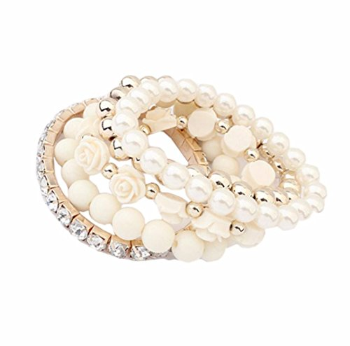 Price comparison product image Clearance ! Bracelet, Fitfulvan 2018 Elegant Rose Flower Round Pearl Shining Crystal Elastic Women Girls Bracelet Gift Jewelry (Rice)