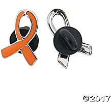 12 Orange Ribbon Awareness Pins, KIDNEY, LEUKEMIA, MULTIPLE SCLEROSIS (12)
