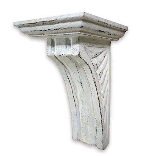 CinMin Hand-Carved Art Deco Corbel Wood Wall Bracket/Floating Shelf, Doric Antique White 10 inch