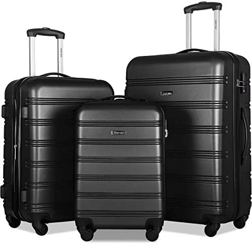 Merax 3 Pcs Luggage Set Expandable Hardside Lightweight Spinner Suitcase with TSA Lock [Upgraded Version], Black