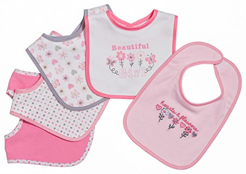 [Little Beginnings 5 Piece Baby Bibs for Girls, Hearts and Flowers, Pink] (Minnie Mouse Nose)