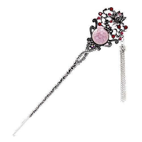 (Chinese Style Flower Tassel Hair Sticks Antique Design Metal Flower Crystal Rhinestone Women Hair Accessories Vintage Jewelry)