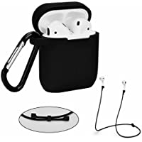 Airpods Case Strap Set - Filoto Waterproof Silicone Cover for Apple Airpod (Black)