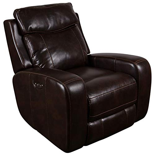 Austin Recliner - Hawthorne Collections Austin Leather-Look Power Headrests Recliner - Chocolate
