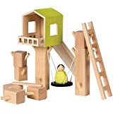 Manhattan Toy MiO Tree Fort + 1 Bean Bag Person Peg Doll Imaginative Montessori Style STEM Learning Wooden Building Playset for Boys and Girls 3 Years + Up by