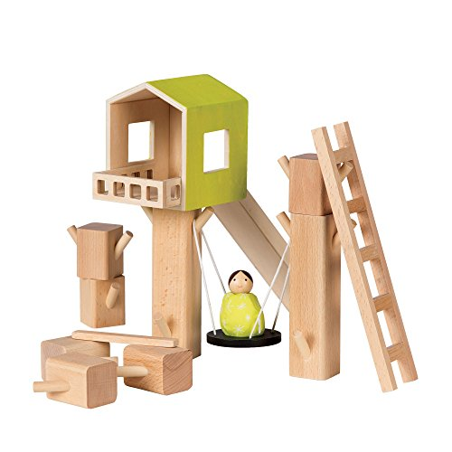 MiO Tree Fort  1 Bean Bag Person Peg Doll Imaginative Montessori Style STEM Learning Wooden Building Playset for Boys and Girls 3 Years  Up by Manhattan Toy