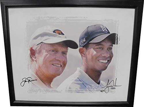 7ddc743bdde Tiger Woods Jack Nicklaus Dual Hand Signed Autographed Custom Framed Canvas  UDA