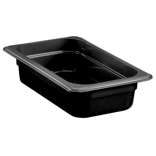 Cambro Camwear H-Pans? 1 3/5 qt Black Polysulfone High Heat Food Pan - 1/4 Size 2 1/2 D