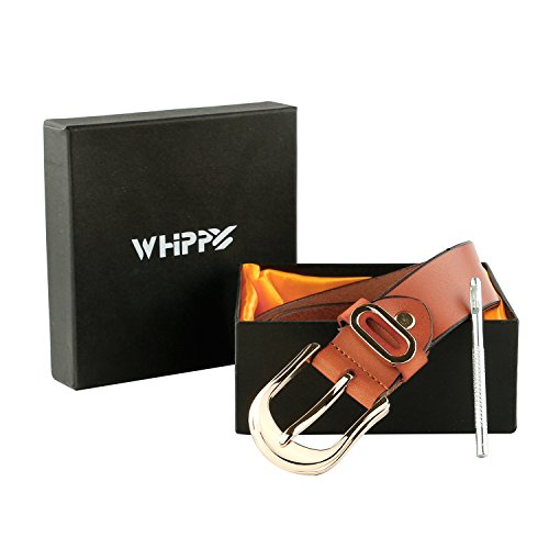 Whippy Women Casual Leather Belt for Jeans, 1.2 Inch Wide with Golden Buckle