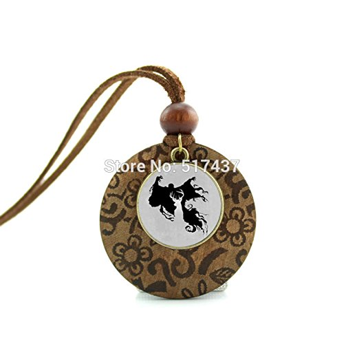 Price comparison product image Pretty Lee New Design Round Wood Necklace Elk Deer Necklace Woodland Antler Jewelry Glass Art Picture Necklace