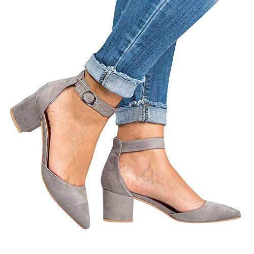 Athlefit Women's Ankle Strap Buckle Pump Shoes Low Chunky Heel Pointed Toe Simple Classic Sandals Size 9 Grey ()