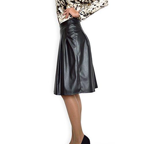 Les Femmes Faux Cuir Taille Haute évasée Patineuse Jupe Plissée Noir EU 36 38 40 42 44 46 48 50