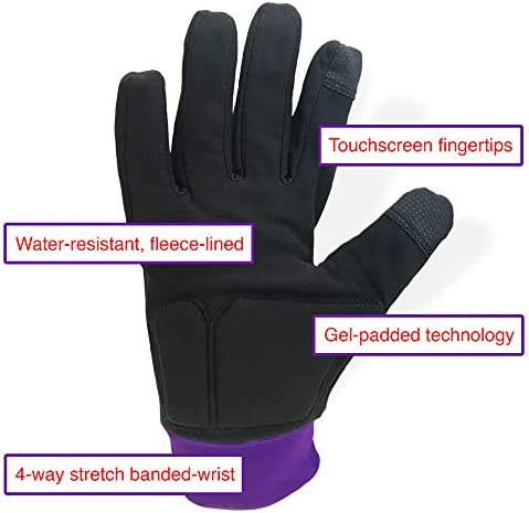 ColorFlow Skating Water-Resistant Ice Skating Gloves with Protective Padding, Touchscreen Fingertips, Fleece Lining