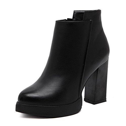 Allhqfashion Women's Solid PU High-Heels Zipper Pointed Closed Toe Boots Black BzU8f2zM