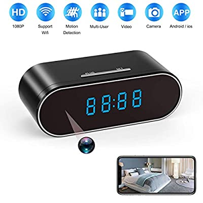 Spy Camera, 1080P Hidden Camera Clock WiFi Video Recorder 140° Wide Angle Lens Wireless IP Cameras for Indoor Home Security Monitoring Nanny Cam with Night Vision Motion Detection