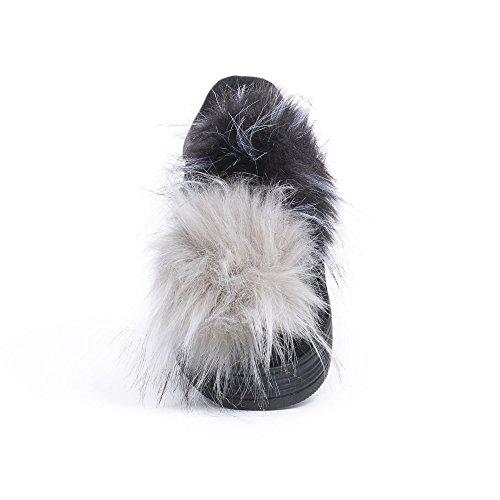 Pompons Fabienna Baskets Ideal Noir avec Shoes Daim en Fourrure Effet CB8qvwf