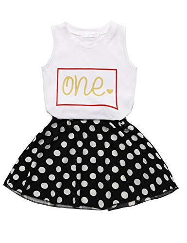 Price comparison product image Arshiner Toddler Baby Kids Girls Summer 2PCS Sets Outfits Sleeveless Shirt/ Vest Tops + Dots Skirt