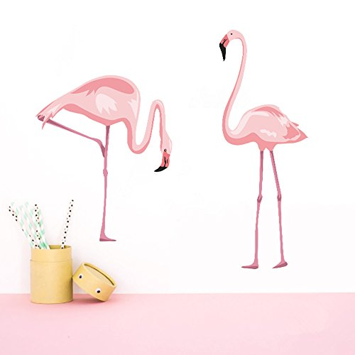 decalmile Pink Flamingo Wall Stickers Peel and Stick Wall Decals for Bedroom Living Room Kids Room Wall Decor
