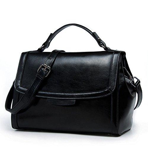 Top Kuriertasche Vintage Paket Damen PU Leder Umhängetasche Tote Stil Europäische Black Leder Fashion Griff Xq70Z