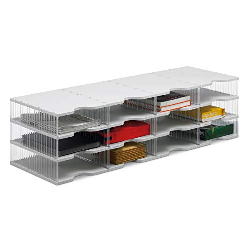 Ultimate Office 12-Compartment Crystal-Clear Mail Sorter (4W x 3H) Large Compartment with Optional Add-On Tiers for Easy Expansion ()