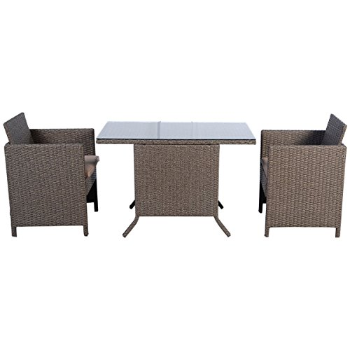 Tangkula 3pc Cushioned Outdoor Wicker Dining Set Light Brown