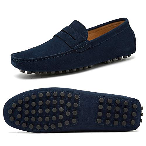 Go Tour Men's Penny Loafers Moccasin Driving Shoes Slip On Flats Boat Shoes Dark Blue 48 (Blue Loafers)
