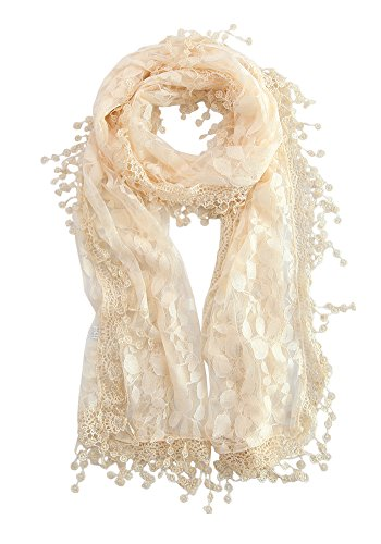 MissShorthair Floral Print Lace Scarfs for Women with Fringes (cream rose) - Floral Lace Jacket