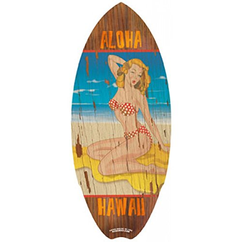C-Ya Mini Wood Surfboards / Pin Up Girl by KC Hawaii