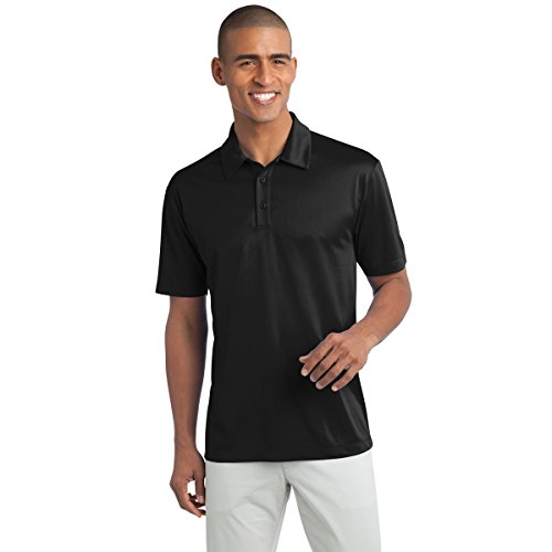 Mens Short Sleeve Moisture Wicking Silk Touch Polo Shirt, 2XL, Black