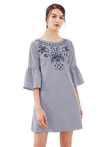 Floerns Women's Bell Sleeve Embroidered Tunic Dress Navy Stripe - Mini Shift Dress