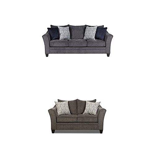 Simmons Upholstery Albany 2 pc Living Room Set with Sofa and Love Seat , Pewter