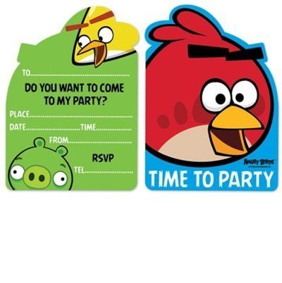 Gemma International Angry Birds Party Invitations, Pack Of
