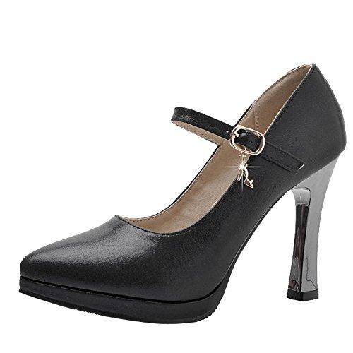 YE Damen Knöchelriemchen Pumps Stiletto High Heels Plateau mit Schnalle Elegant Schuhe Schwarz