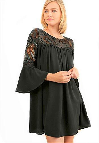 Umgee Bell Sleeve Shift Dress A Floral Embroidered Velvet Yoke (S)