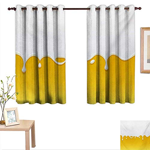 Yellow and White Decorative Curtains for Living Room Dripping White Milk Cream Paint Yogurt on Yellow Honey Background Print 55