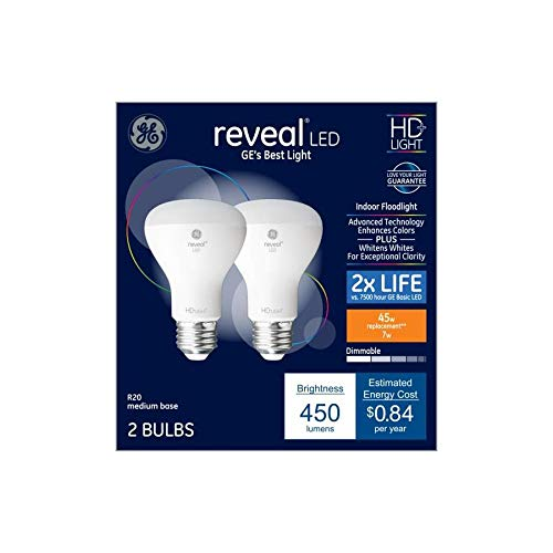 (GE Reveal 2-Pack 45 W Equivalent Dimmable Soft White R20 LED Light Fixture Light Bulbs Medium Base E26)
