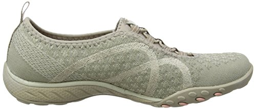 Skechers Relaxed Fit Breathe Easy Fortune Knit Mujeres Bungee Sneakers Taupe