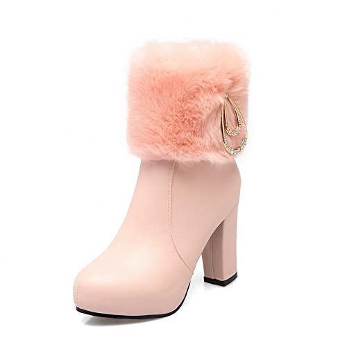Toe Heels Pink Women's AgooLar Closed Boots Soft Low top Material Round High Zipper x8qqS7Yw